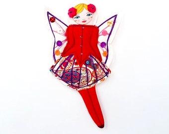 Fuschia Flower Fairy Ornament, Hanging Tree Fairy Figurine, Gift for Her