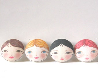 Buttons with faces, Tiny doll faces, Unusual sewing buttons, Doll buttons, Sewing notions, Button supplies, Size 29mm buttons