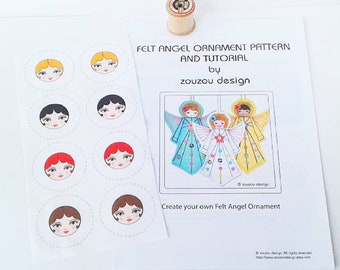Angel Sewing Pattern with 8 Tiny Doll Faces for Covered Button Making, Fabric Stash Buster Kit, Covered Button Making Fabric