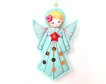 Felt Angel Figurine, Christmas Angel, Guardian Angel Doll, Gift for Girl, Angel Ornament Keepsake, Peppermint Green