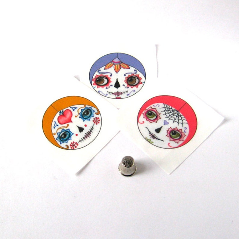 Craft Supplies Sewing Notions Sugar Skull appliques Cloth doll faces Doll making supplies Day of the Dead doll faces Sew in doll faces