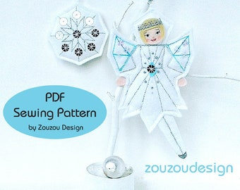 PDF Sewing Pattern, Christmas Fairy Sewing Pattern, White Christmas Holiday Decor, Felt Frost Fairy and Snowflake Ornament Pattern