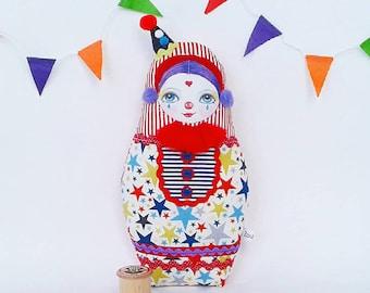Cute Clown Art Doll, Circus  Decor, Pierrot Figurine, Collectable Doll, Pierrot Nesting Doll, Clown Ornament