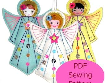 PDF Sewing Pattern, Felt Angel  Pattern, Modern Folk Angel Template, DIY Christmas Angel, Angel Tutorial, Sew Felt Angel