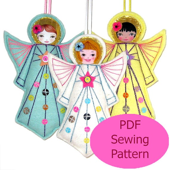 PDF Sewing Pattern Felt Angel Pattern Felt Angel Template Etsy Amazing Angel Pattern