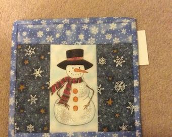 Snowman mug rug  candlemat