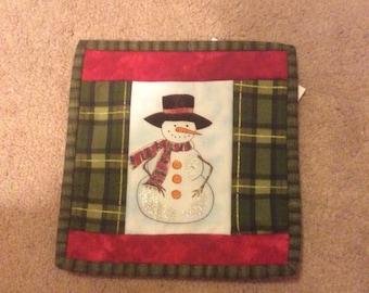 Snowman candlemat mug rug