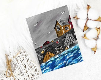 Acadian painting ceramic ornament set of 8 Nova Scotia traditional acadie heart shape fishing village maritime,canada lighthouse