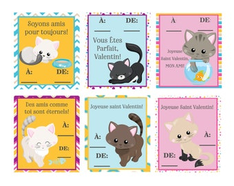 5a51d4709f7 FRENCH Cats Valentine set of 6