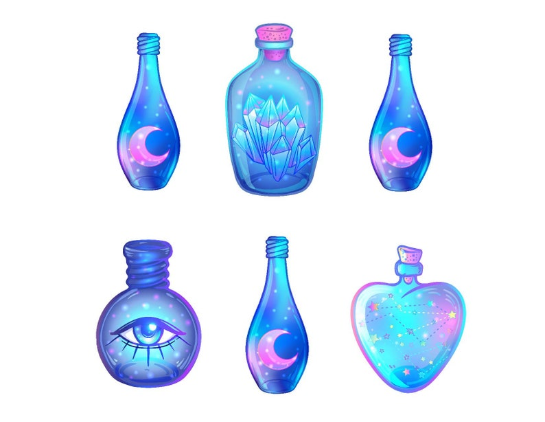 Blue magic potions Diecut sticker pack - Set of 6 - roughly 3 inches  Magical, mystic, mystical