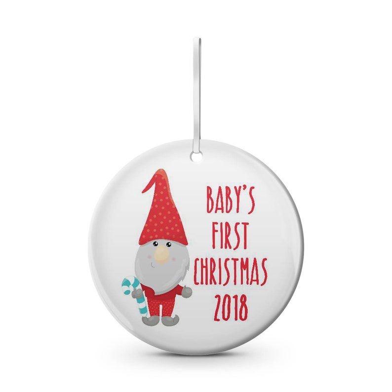 holiday personalize with name baby/'s first Christmas ceramic Christmas ornament Gnome custom