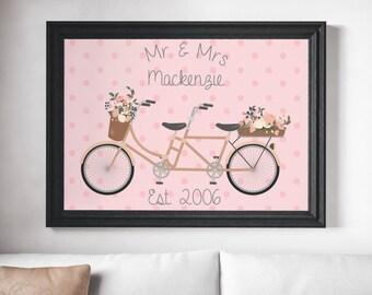 PRINTABLE wall art print,Custom Bicycle Family name print, pink and grey, living room ,gift print, family room