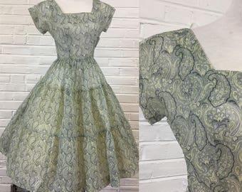 Vintage 1950s Paisley Print Sheer Crinkle Organza Dress by Jonathan Logan, size XS
