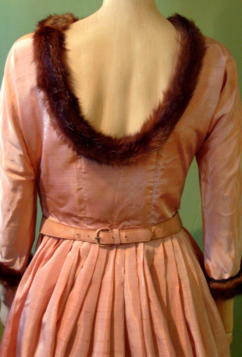 1940s Vintage Irridescent Pink Silk Taffeta Dress with mink image 0