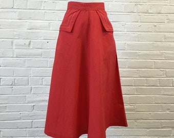 "1960s Paddle and Saddle Red Skirt with Pocket Stitching Detail, 24"" waist"