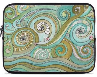 Computer sleeve * Honeydew ocean waves green laptop artist sleeve * Tablet artist sleeves  * Boho style art laptop * Colorful tablet cases