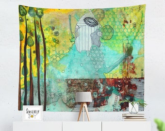 Large Mixed Media Abstract Art tapestry Original Artist Wall Hanging Intuitive Artwork Boho Style Painting Unique Home Office Designer Gifts
