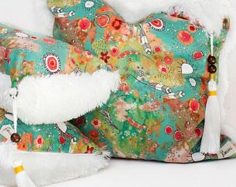 Colorful boho feather art bedroom throw pillows bohemian shag pillows decorative pillows modern gypsy style pillows art large accent pillows