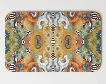 Abstract MAT coffee painting bath mat PSYCHEDELIC bathroom rug kitchen rug microfiber rug art rug unique decor ABSTRACT bathroom accessories