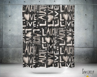 Designer Laugh Love Live Black Shower Curtain Inspirational Words Quote Letters Shabby Chic Art Bathroom Decor