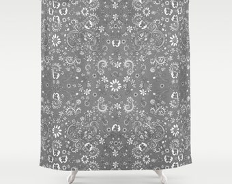 Designer Art Shabby Chic Shower Curtain Grey Floral Boho Fabric Bathroom Decor Hippy Curtains
