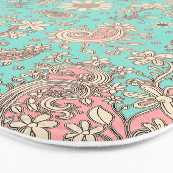 Bath Mat Teal Floral Rug Unique Home Decor Shabby Chic