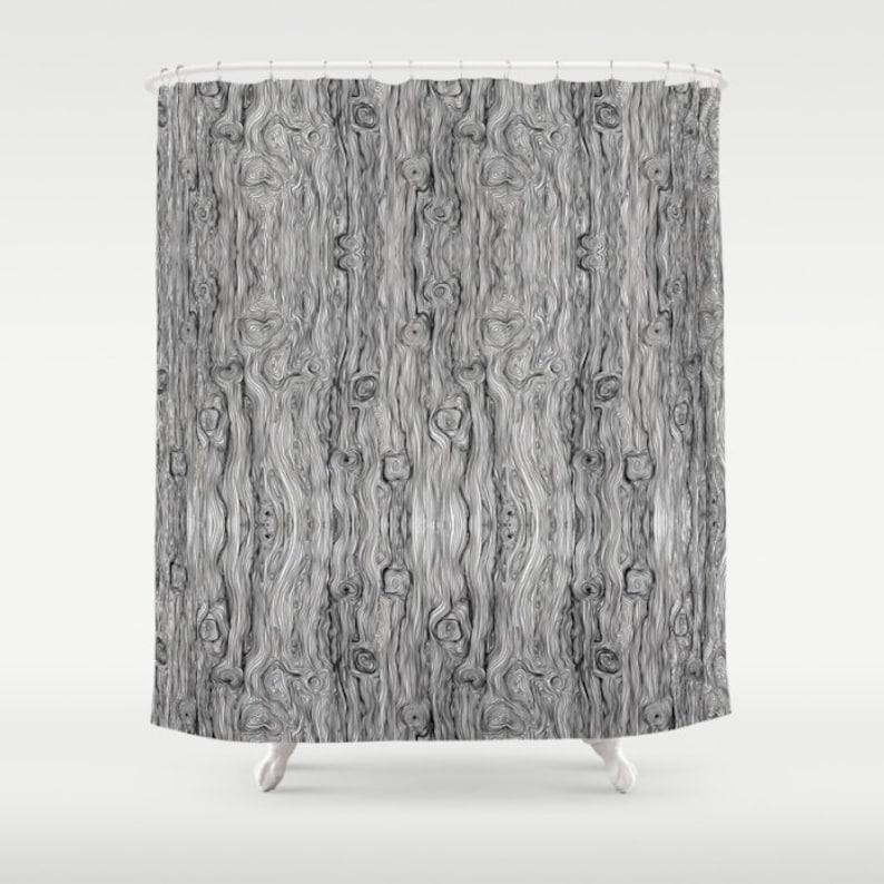 Black White Wood Grain Shower Curtain Art Funky