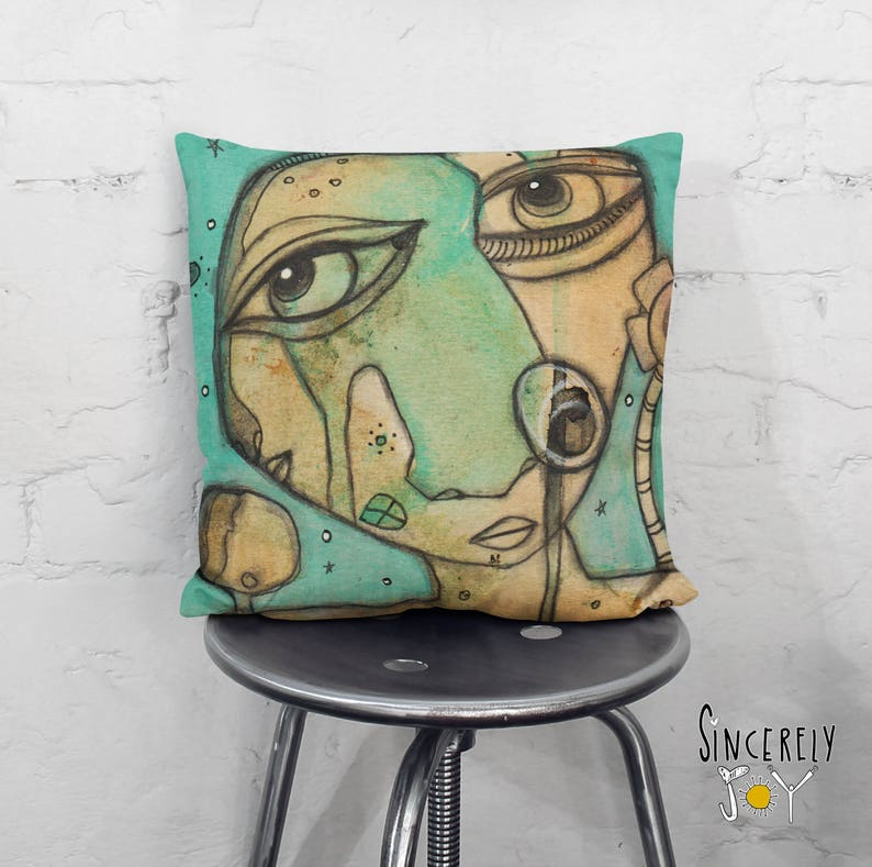 Abstract Face Art Throw Pillow Unique Pillow Cover Art Funky  7399f0a50