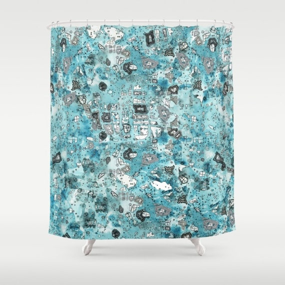 Shower Curtain Blue Sky Colorful Boho Shabby