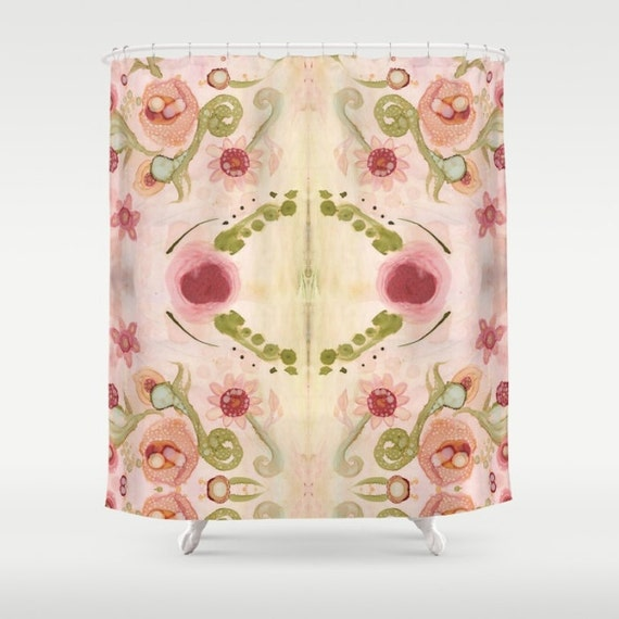 Floral Shower Curtain Pink Shabby Chic Curtains