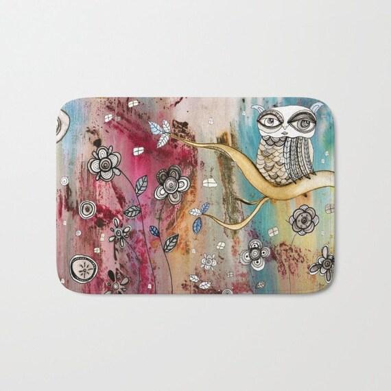 Owl Bath Mat Kitchen Mat Floral Bath Mat Microfiber Mat Boho Rug Shabby  Chic Owl Carpet Bathroom Rug Art Abstract Rug Folk Art Rug Owl Decor