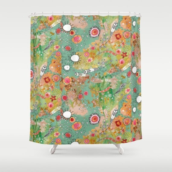 Feathers Shower Curtain Flowers Colorful Boho