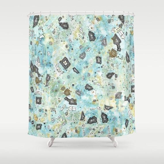Shabby Chic Shower Curtain Surreal Sky Blue Boho