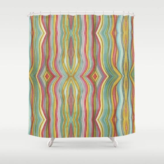 Colorful Boho Rainbow Striped Shower Curtain Bathroom Set