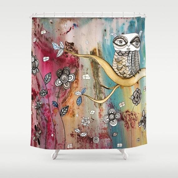 Eule Duschvorhang bunte Boho Dusche Vorhang Badezimmer Zubehör   Etsy