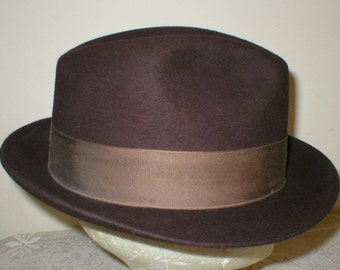 Mens Brown Fedora Hat Size 7 1 8 Adam New York Vintage Antique 1940s 1a3058802fb0
