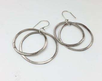 Sterling silver dangle hoop earrings double trouble