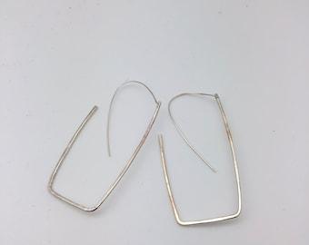 Sterling silver rectangle hoop earring