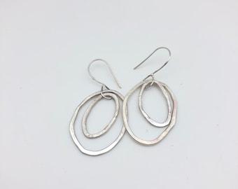 Hoopty - Doo Two oval ish - sterling silver dangle earring