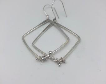 Sterling silver diamond & square hoop earrings