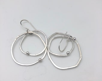 double duty hoopty-doo , sterling silver hoops with dollop