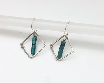 Sterling silver square hoop earring with turquoise and tiny dot embellishment