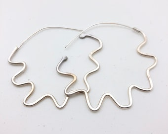 Sterling silver squiggly wiggly earring hoop