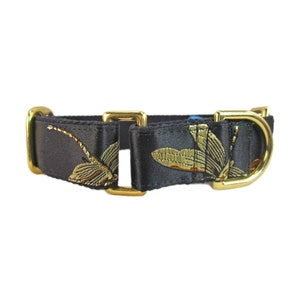 Silk Dog Collar with Gold Dragonflies Fancy Martingale Dog Collar and Leash Set Wide Greyhound Martingale.