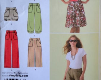 Simplicity 2367 Sewing Pattern, Misses' Pants, Capri Pants, Shorts and Skirt, Size 6-8-10-12-14, Uncut FF, Spring Summer Fashion