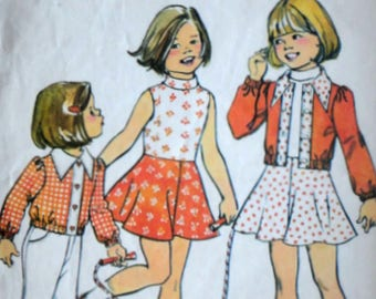 Sewing Pattern, Vintage 70's Simplicity 6820 Girls Unlined Jacket & Dress, Size 5, 24 Breast , Retro 1970's