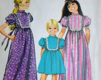 Vintage 70's Simplicity 9956 Sewing Pattern, Girls' Dress in Two Lengths, Size 10, 28 1/2 Breast, Retro Boho 1970's Kids Fashion