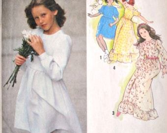 Girls Dress, Two Lengths, Vintage 70's Simplicity 9342 Sewing Pattern, Size 10, 28 1/2 Breast, Uncut FF, Flower Girl Special Occasion 1970's