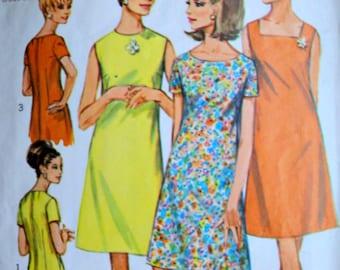 Sewing Pattern, Vintage 60's Simplicity 7120 Misses' A-Line Dress, Three Necklines, Size 14, 34 Bust, Mad Men Mod 1960's, Uncut