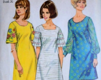 Vintage 60's Simplicity 6997 Sewing Pattern, Misses' One-Piece Dress with Two Necklines, Size 16, 36 Bust, Retro Mod 1960's Fashion